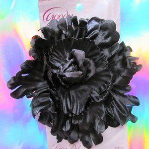 rockabilly burlesque black mum flower hair clip